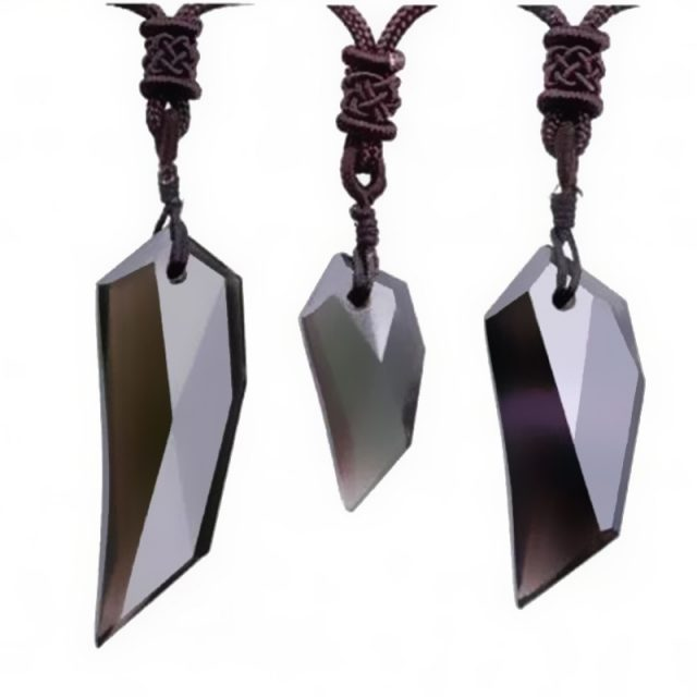 Natural Ice Obsidian Necklace with Wolf Tooth Pendant