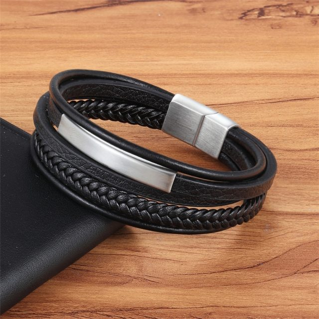 Casual Leather Bracelets for Men with Magnetic Clasp