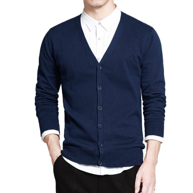 Men's Knitted Cotton Cardigan