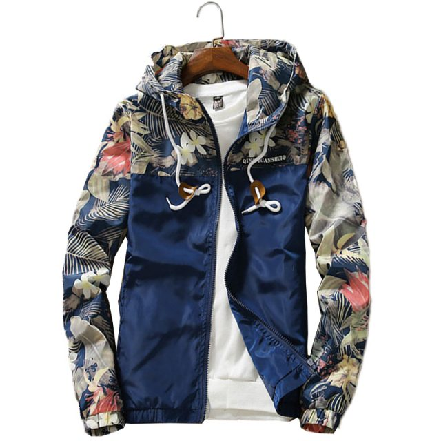 Floral Hooded Long Sleeve Windbreaker for Men