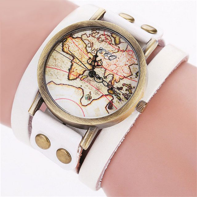 Men's Vintage World Map Watch