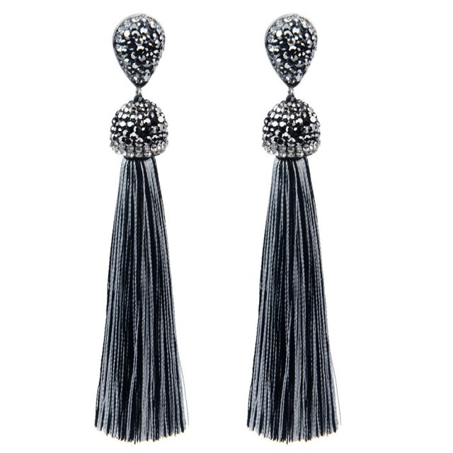 Long Crystal Tassel Earrings