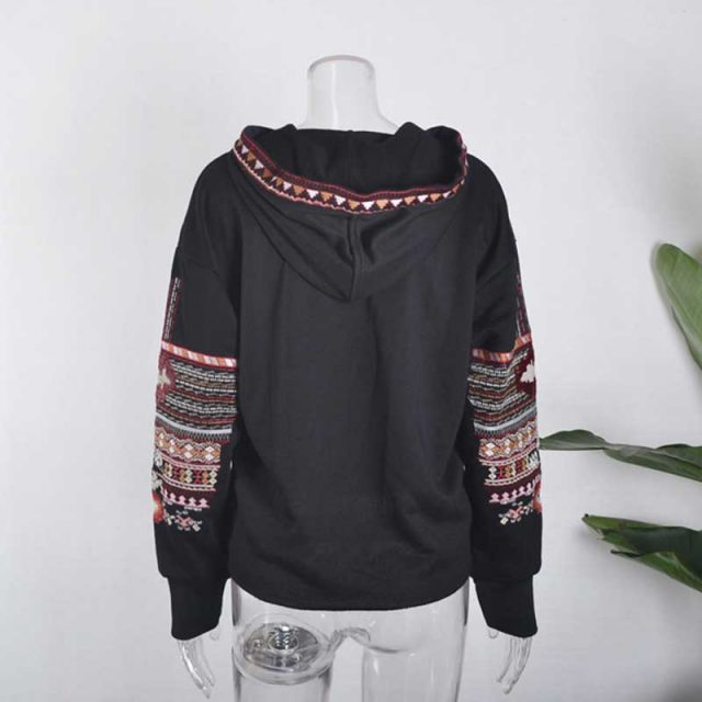Women's Boho Floral Embroidered Hoodie