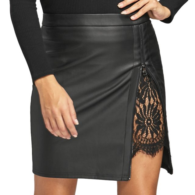 Women's Lace Inserted Leather Mini Skirt