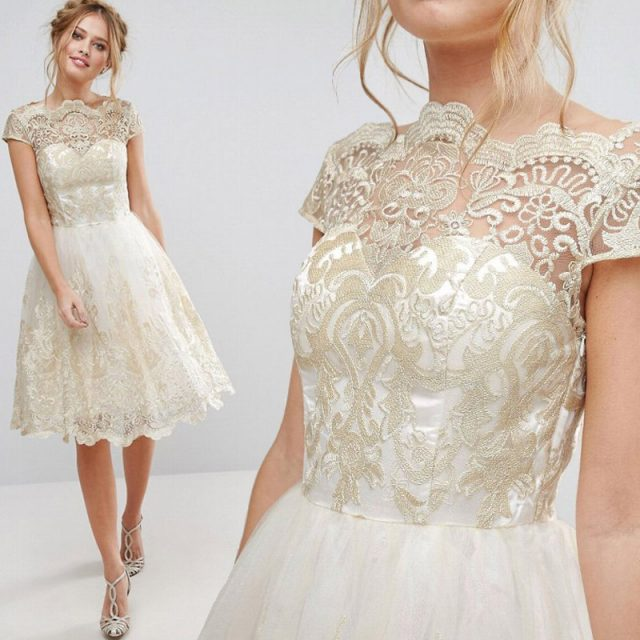 Women's Vintage Lace Embroidered Dress