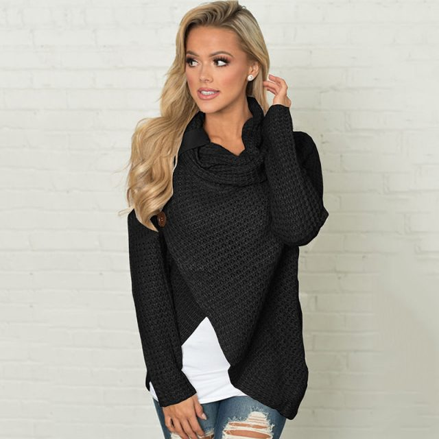 Women's Winter Knitted Wrap Collar Cross Sweater