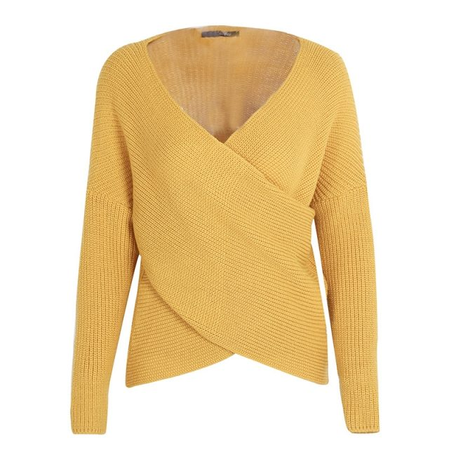 Women's Knitted Deep V-Neck Sweater