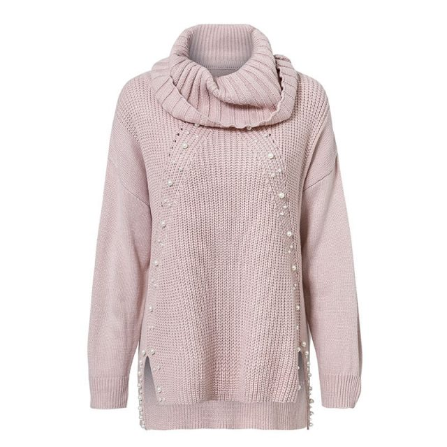 Women's Pearls Decorated Turtleneck Sweater